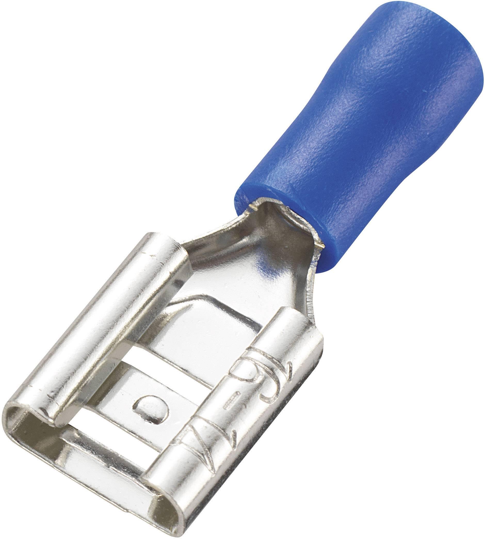 Faston konektor zásuvka Conrad Components 737509 8.0 mm x 0.8 mm, 180 °, čiastočne izolované, modrá, 100 ks