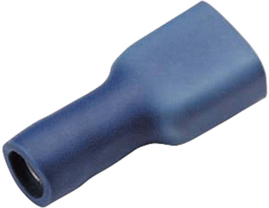 Faston konektor zásuvka Cimco 180247 2.8 mm x 0.8 mm, 180 °, úplne izolované, modrá, 1 ks