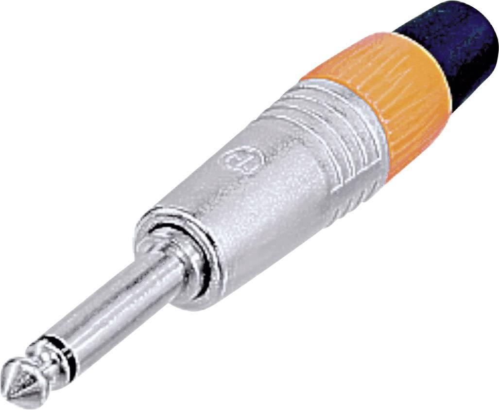 Jack konektor 6.35 mm čiernobiela zástrčka, rovná Neutrik NP2CVERNICKELT, pinov 2, strieborná, 1 ks
