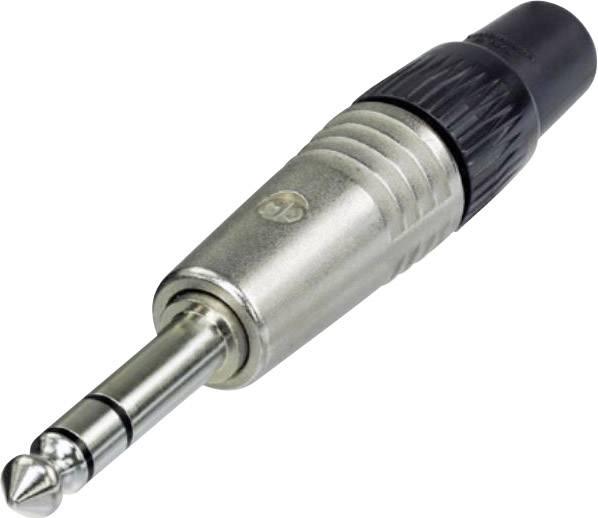 Jack konektor 6,35 mm stereo Neutrik (NP3C), zástrčka rovná, 4 - 7 mm, 3pól., stříbrná