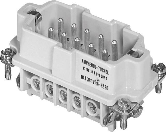 Vložka pinového konektoru Heavy mate® C146 C146 10A010 002 1 Amphenol, počet kontaktů: 10 + PE, 1 ks