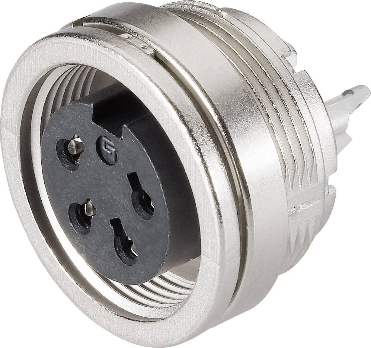 Miniatúrny okrúhly konektor Binder 09-0312-00-04 IP40, poniklovaná, 1 ks