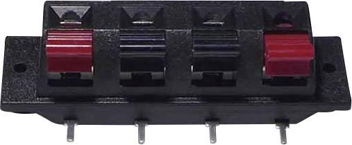 Svorka reproduktoru 4pól., zásuvka vestavná horizontální, černá