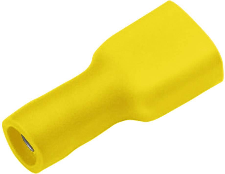 Faston konektor zásuvka Cimco 180274 6.3 mm x 0.8 mm, 180 °, úplne izolované, žltá, 1 ks