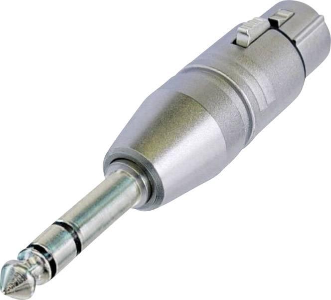 XLR zásuvka/jack zástrčka 6,35 mm Stereo Neutrik NA 3 FP, adaptér rovný, strieborná