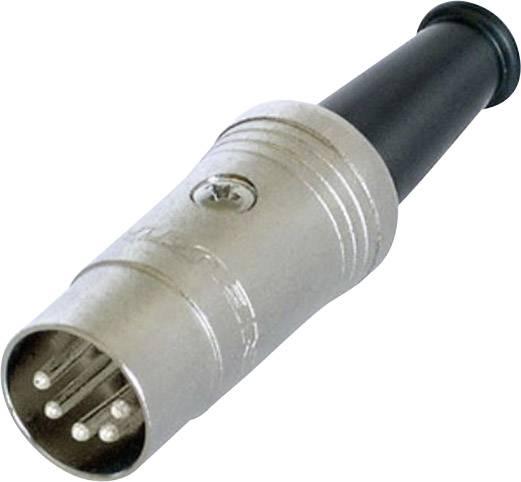 DIN kruhový konektor zástrčka, rovná Rean NYS322, počet pinov: 5, čierna, 1 ks