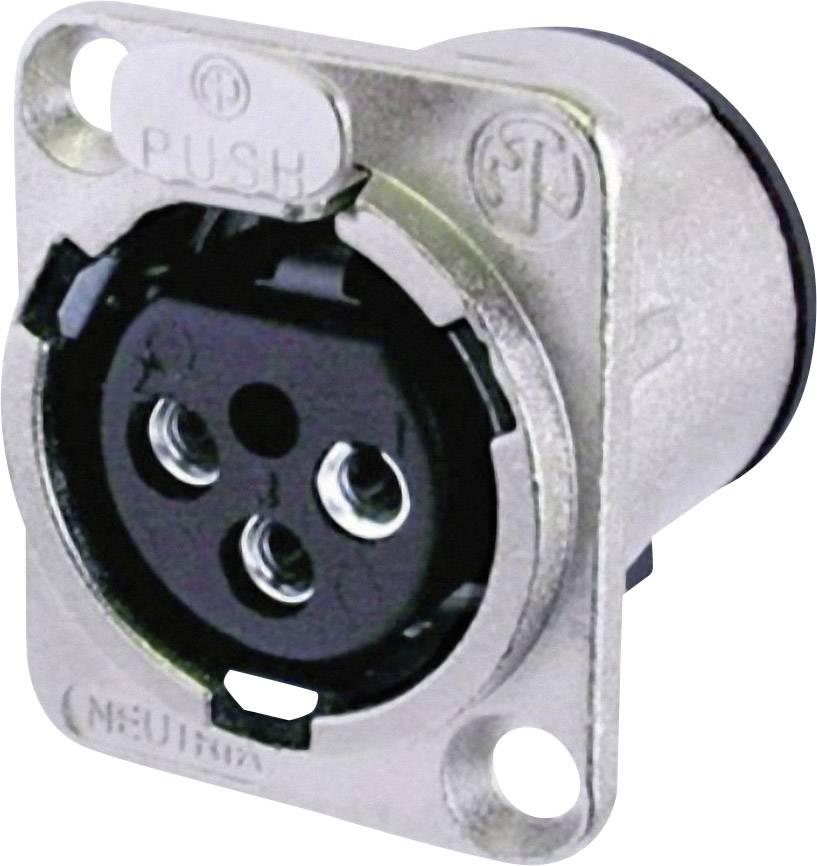 XLR zásuvka Neutrik NC 3 FDV, přírubová rovná, 3pól., stříbrná