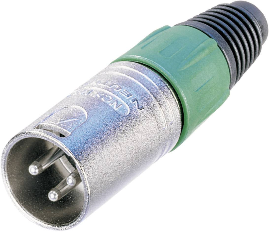 XLR konektor zástrčka, rovná Neutrik NC3MX, pinov 3, strieborná, 1 ks