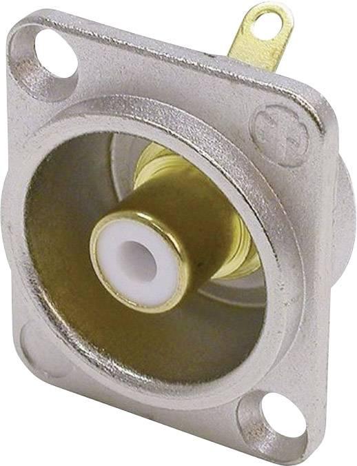 Cinch konektor přírubová zásuvka, rovná Neutrik NF2D9, pólů 2, stříbrná, bílá, 1 ks