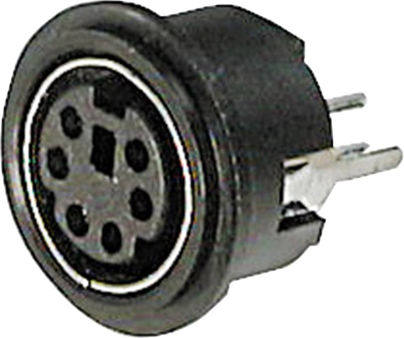 Mini DIN konektor Assmann WSW A-DIO-TOP/08, zásuvka vestavná vertikální, 8pól., černá
