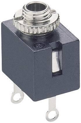 Jack konektor 2.5 mm čiernobiela zásuvka, vstavateľná vertikálna Lumberg KLB 1, počet pinov: 2, čierna, 1 ks