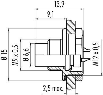 Binder 09-0415-00-05 IP67, CuZn, pólů + PE, 1 ks