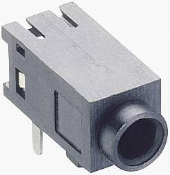 Jack konektor 2,5 mm stereo Lumberg 1501 05, zásuvka vestavná horizontální, 3pól., černá
