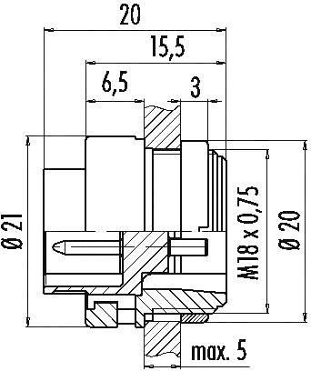 Binder 99-0615-00-05 IP40, pólů + PE, 1 ks