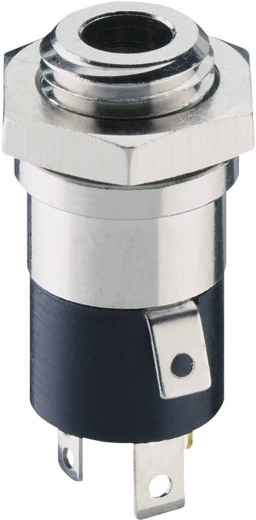 Jack konektor 3,5 mm stereo Lumberg 1502 02, zásuvka vestavná vertikální, 4pól., stříbrná