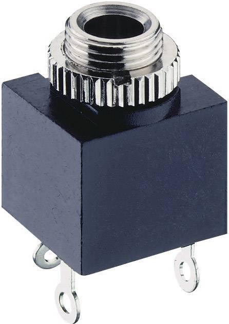 Jack konektor 3.5 mm čiernobiela zásuvka, vstavateľná vertikálna Lumberg 1502 03, pinov 2, čierna, 1 ks