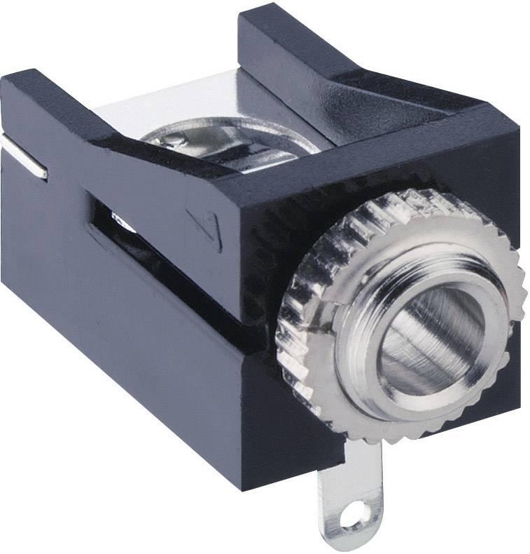 Jack konektor 3.5 mm čiernobiela zásuvka, vstavateľná horizontálna Lumberg 1503 12, pinov 2, čierna, 1 ks