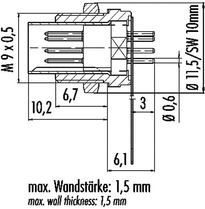 Subminiaturní kulatý konektor3pin. 711-09-0077-00-03