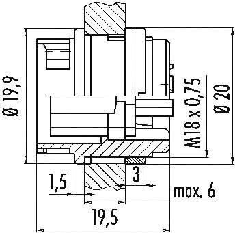 Binder 99-0612-00-04 IP40, pólů + PE, 1 ks