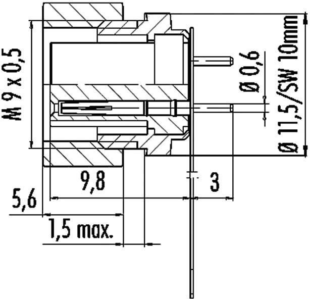 Binder 09-0482-00-08 IP40, pólů + PE, 1 ks