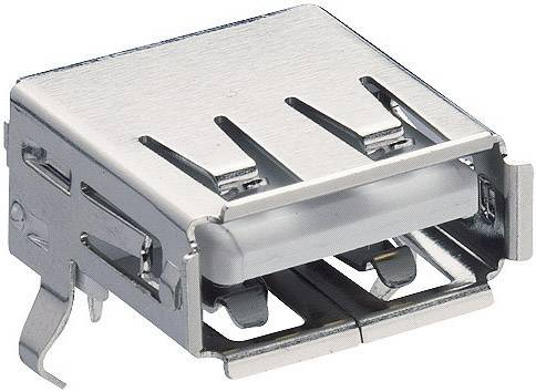 Zásuvka, vstavateľná horizontálna USB-konektor 2.0 Lumberg 2410 02, 1 ks