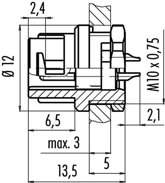 Binder 09-0977-00-03 IP40, pólů + PE, 1 ks