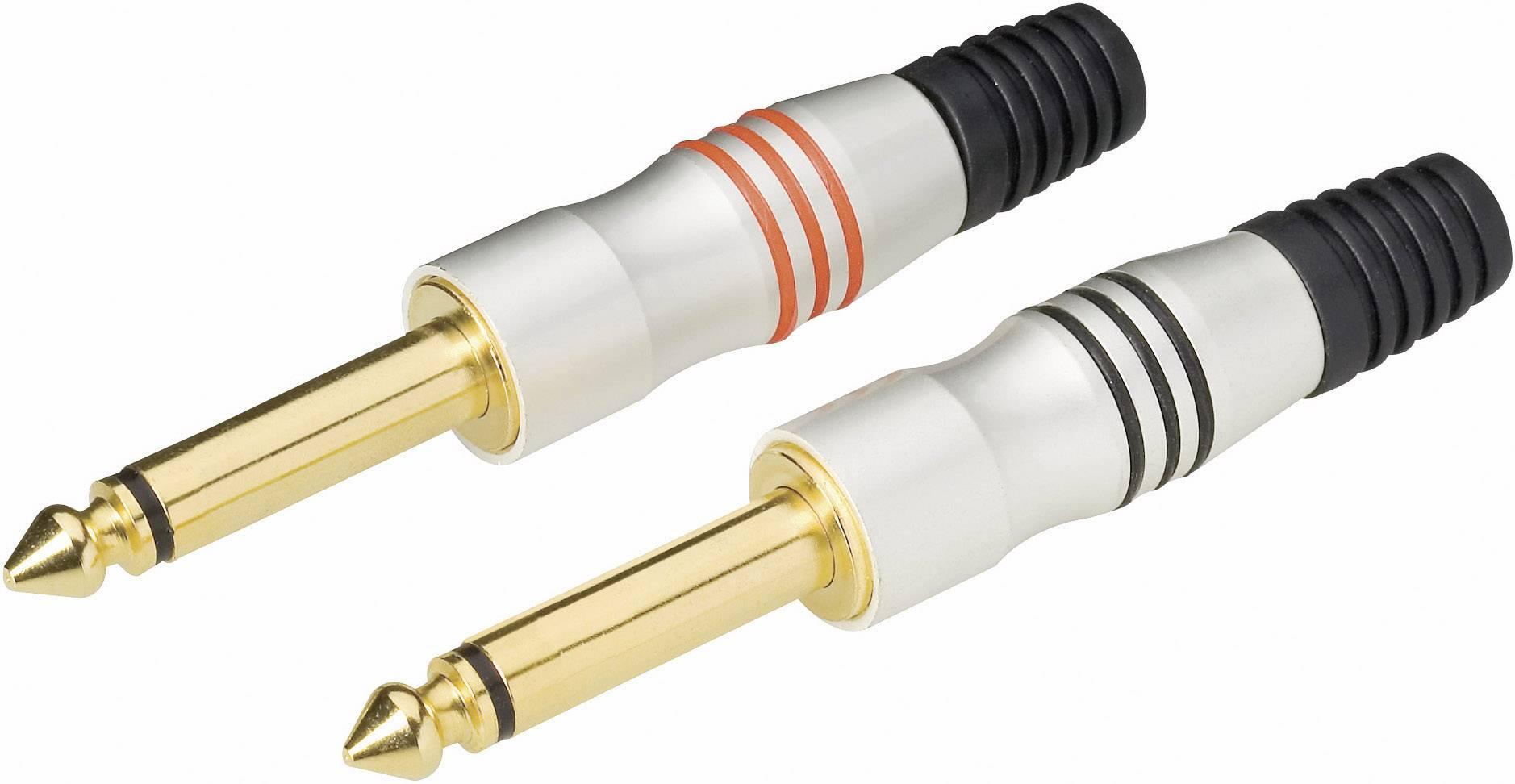 Jack konektor 6,35 mm mono, zástrčka rovná, 2pól., 4 ks, stříbrná
