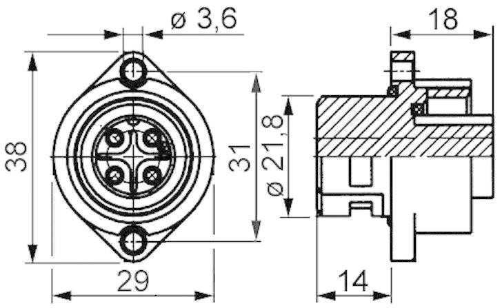 Přístrojová zdířka, konektor 6+PE