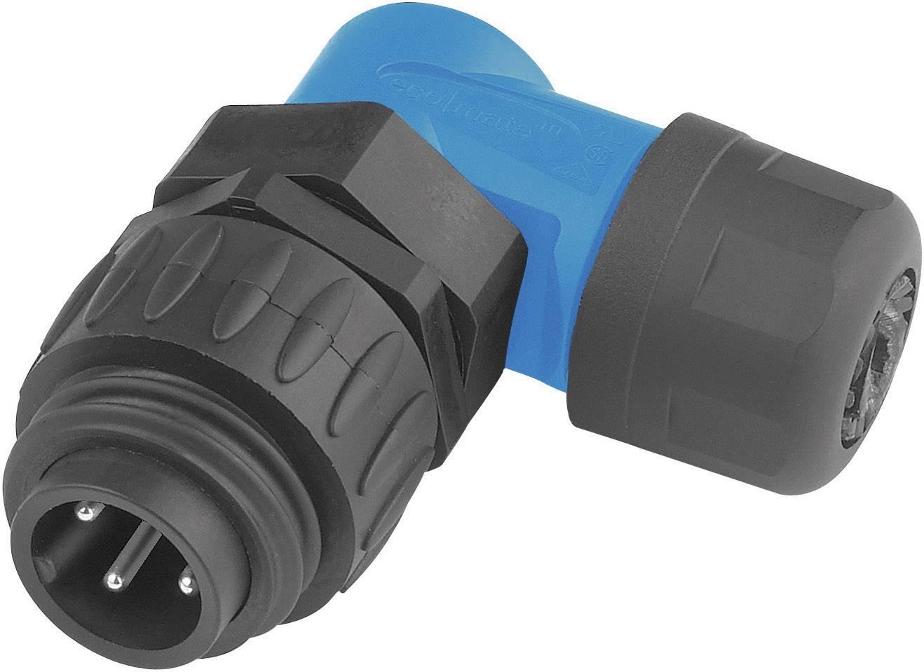 Kabelový konektor 6+PE Amphenol C016 30K006 100 10, zahnutý, 10 A, černá/modrá