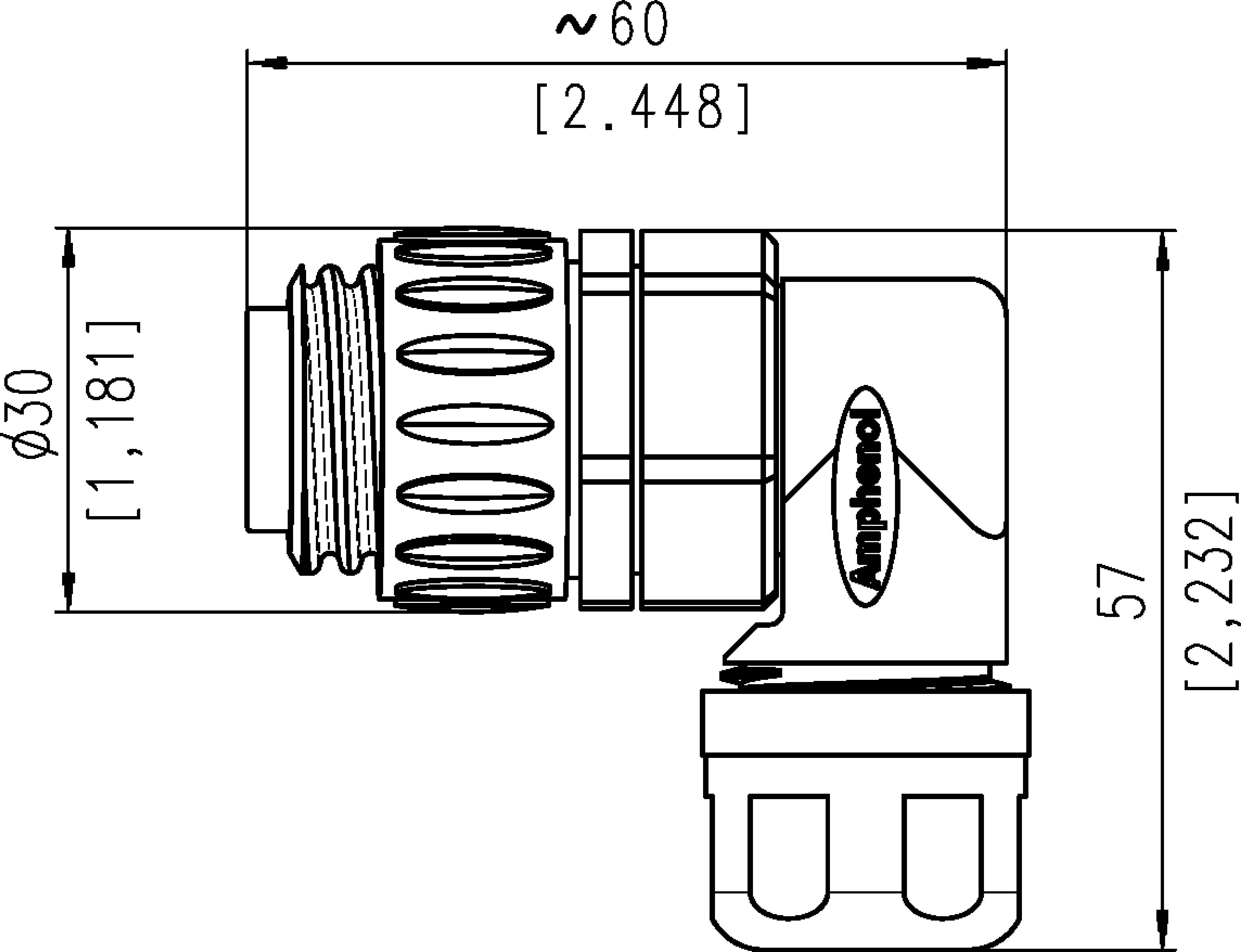 Kabelová zásuvka úhlová 6+PE Amphenol C016 30F006 100 12, černá
