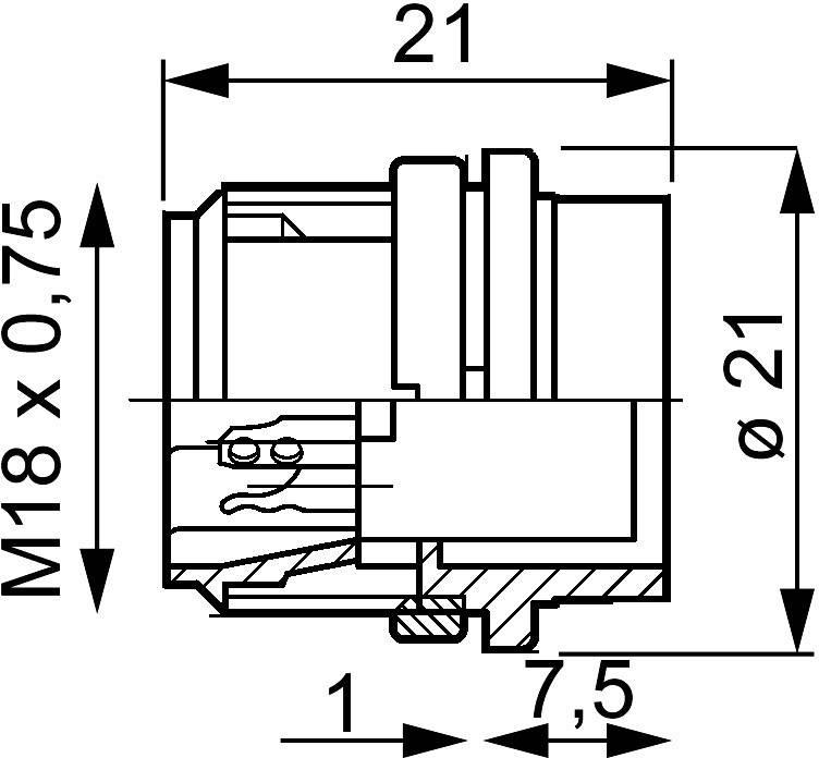 Amphenol T 3277 000 IP40, pólů + PE, 1 ks