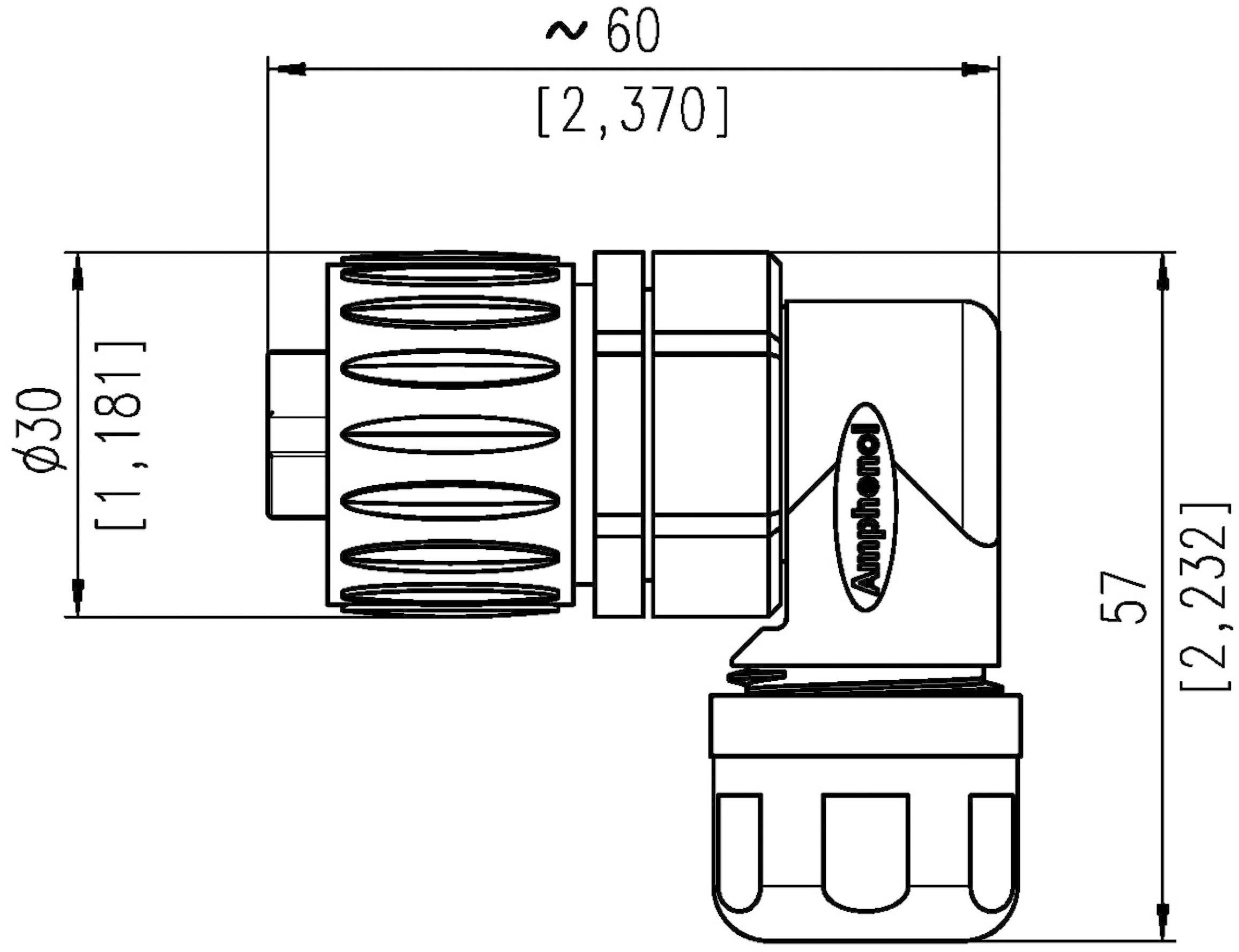 Kabelová zásuvka úhlová 6+PE
