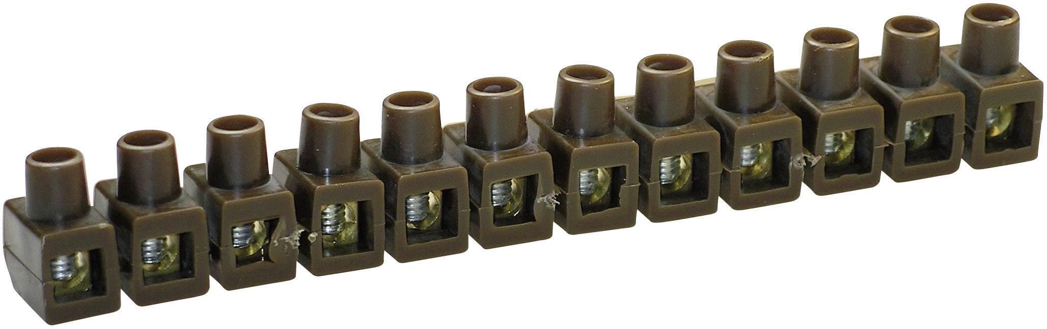 Krabicová svorka Kaiser na kábel s rozmerom 2.5-6 mm², pólů 12, 1 ks, hnedá