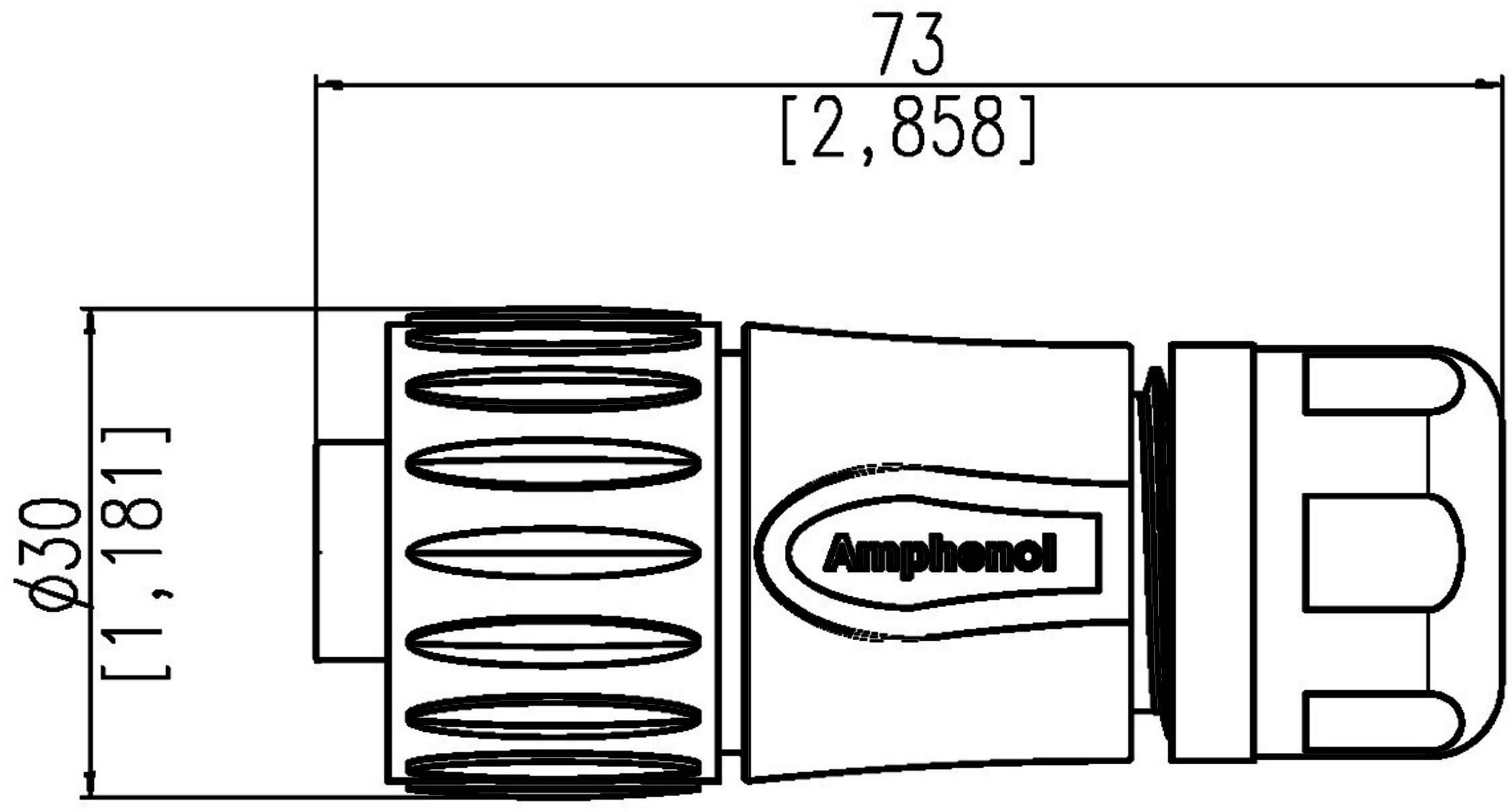 Guľatý faston Amphenol C016 30D006 110 12 IP67 (v zablokovanom stave), polyamid 6.6, pólů 6 + PE, 1 ks