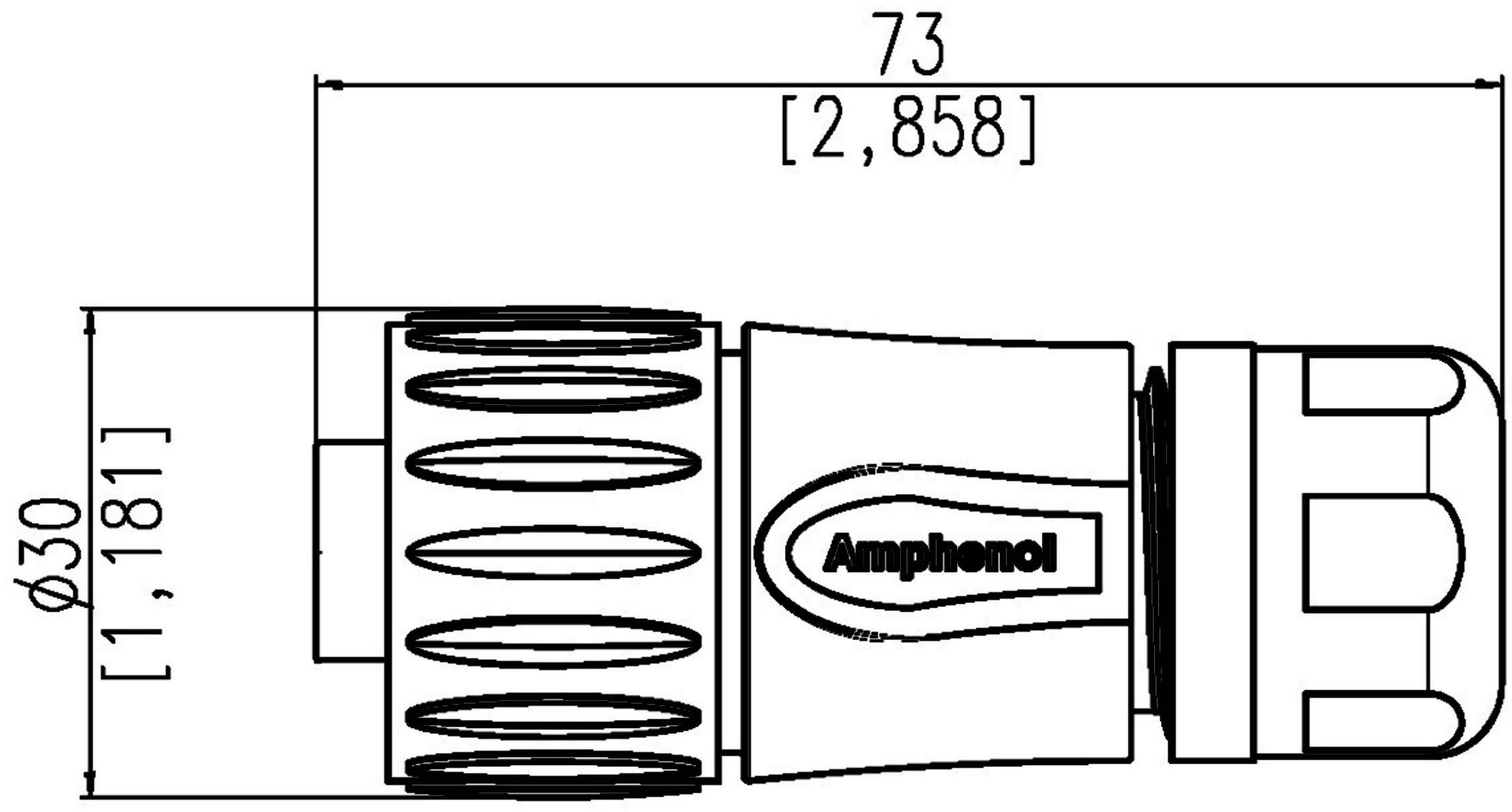 Guľatý faston Amphenol C016 30H006 110 12 IP67 (v zablokovanom stave), polyamid 6.6, pólů 6 + PE, 1 ks