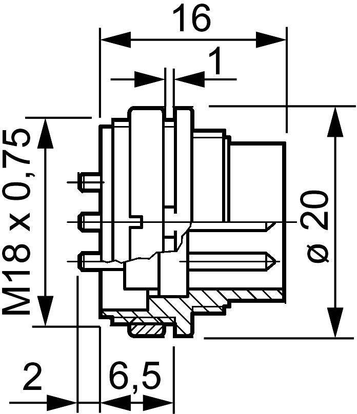 Amphenol T 3506 000 IP40, pólů + PE, 1 ks