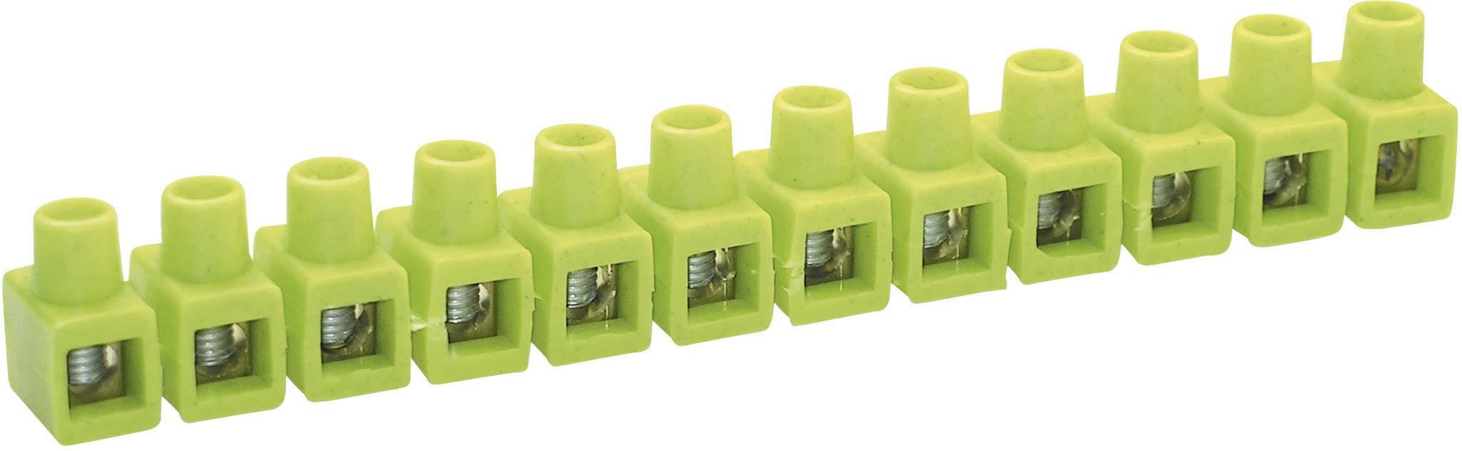 Krabicová svorka Kaiser na kábel s rozmerom 2.5-6 mm², pólů 12, 1 ks, zelenožltá