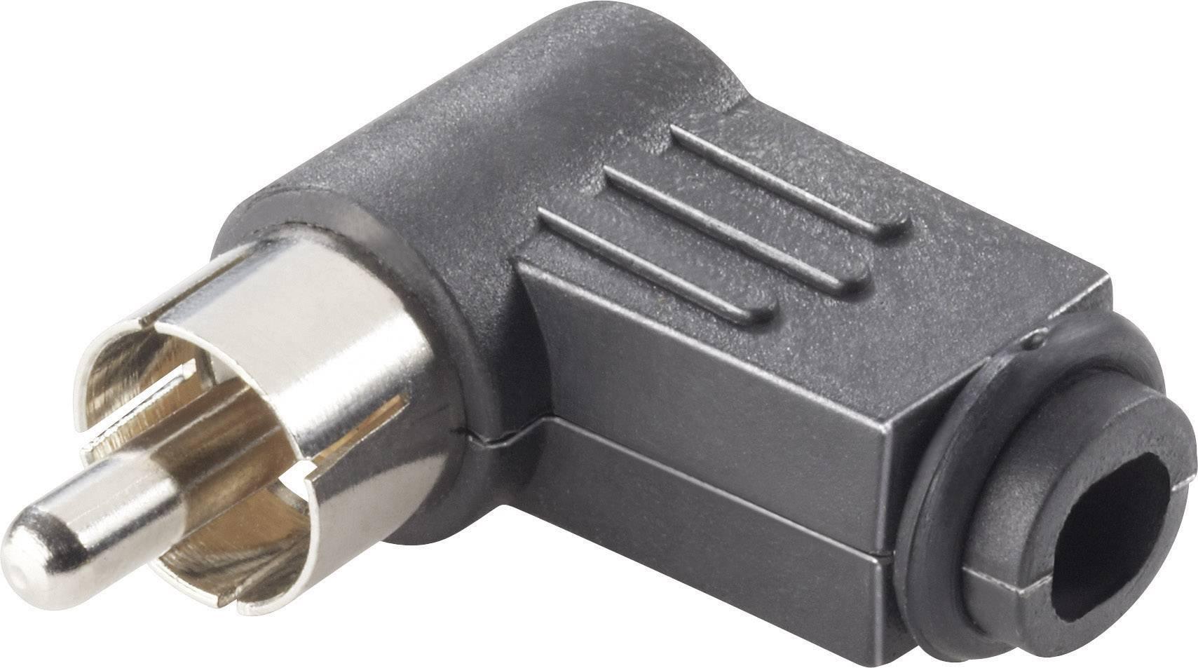 Cinch konektor zástrčka, zahnutá Conrad Components počet pinov: 2, čierna, 4 ks