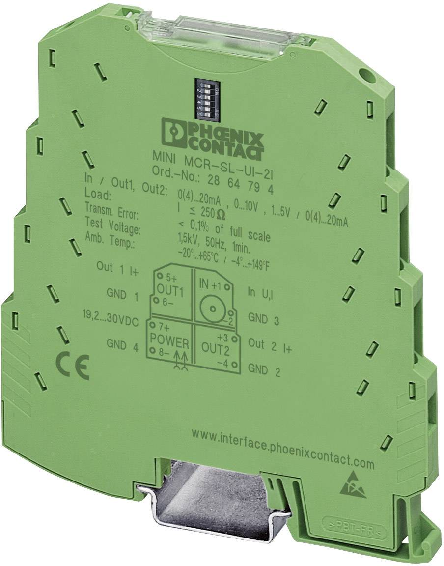 Nastaviteľný zdvojovač signálu Phoenix Contact MINI MCR-SL-UI-2I-NC 2864176 1 ks