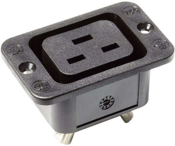 IEC zástrčka C13/C14 Kaiser 766/63/sw/C;C19, zásuvka, vstavateľná vertikálna, počet kontaktov: 2 + PE, 16 A, 250 V, čierna, 1 ks