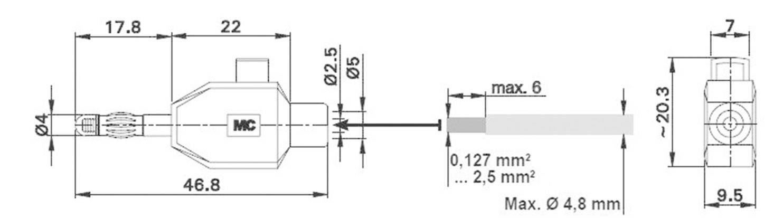 Banánový konektor Stäubli KLS4 ROT – zástrčka, rovná, Ø hrotu: 4 mm, červená, 1 ks