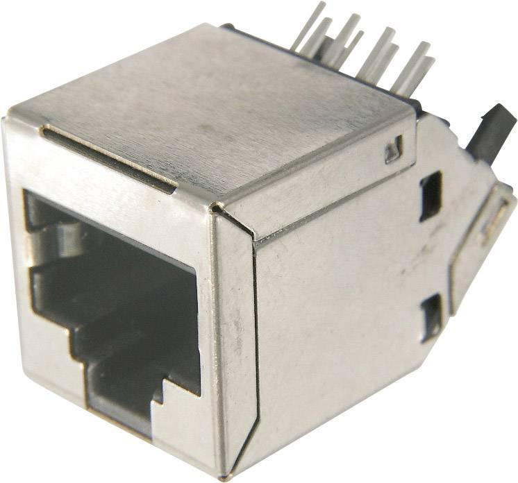 RJ45 zásuvka, vstavateľná horizontálna ASSMANN WSW AMJ-188-30101-CAT6, počet pólov: 8, strieborná, 1 ks