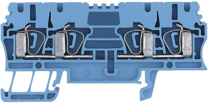 Průchozí svorka řadová Weidmüller ZDU 4/4AN BL (7904300000), 6,1 mm, modrá