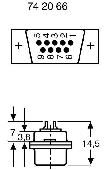 D-SUB kolíková lišta 180 °, Počet pinov 9, spájkovaný, 1 ks