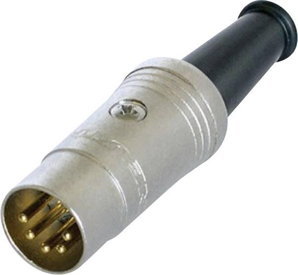 DIN kruhový konektor zástrčka, rovná Rean AV NYS322G, pinov 5, čierna, 1 ks