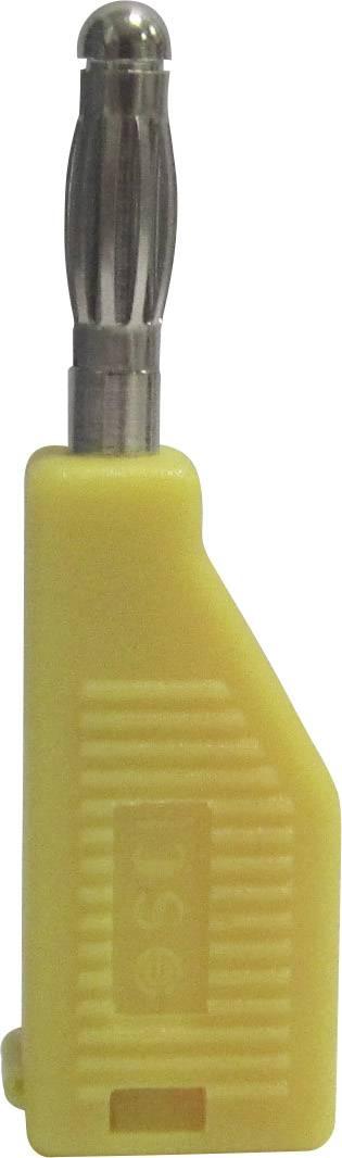 Banánový konektor SCI R8-B19 Y – zástrčka, rovná, Ø hrotu: 4 mm, žltá, 1 ks