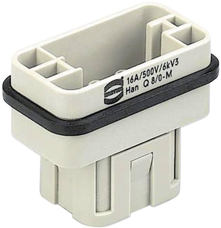Vložka pinového konektoru Harting Han® Q 09 12 008 3001, 8 + PE, krimpované připojení, 1 ks