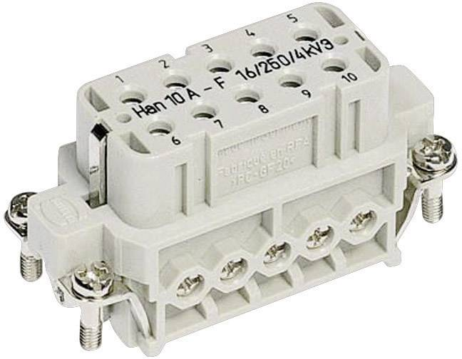 Konektorová vložka, zásuvka Harting Han® A 09 20 010 2812, 10 + PE, šroubovací připojení, 1 ks