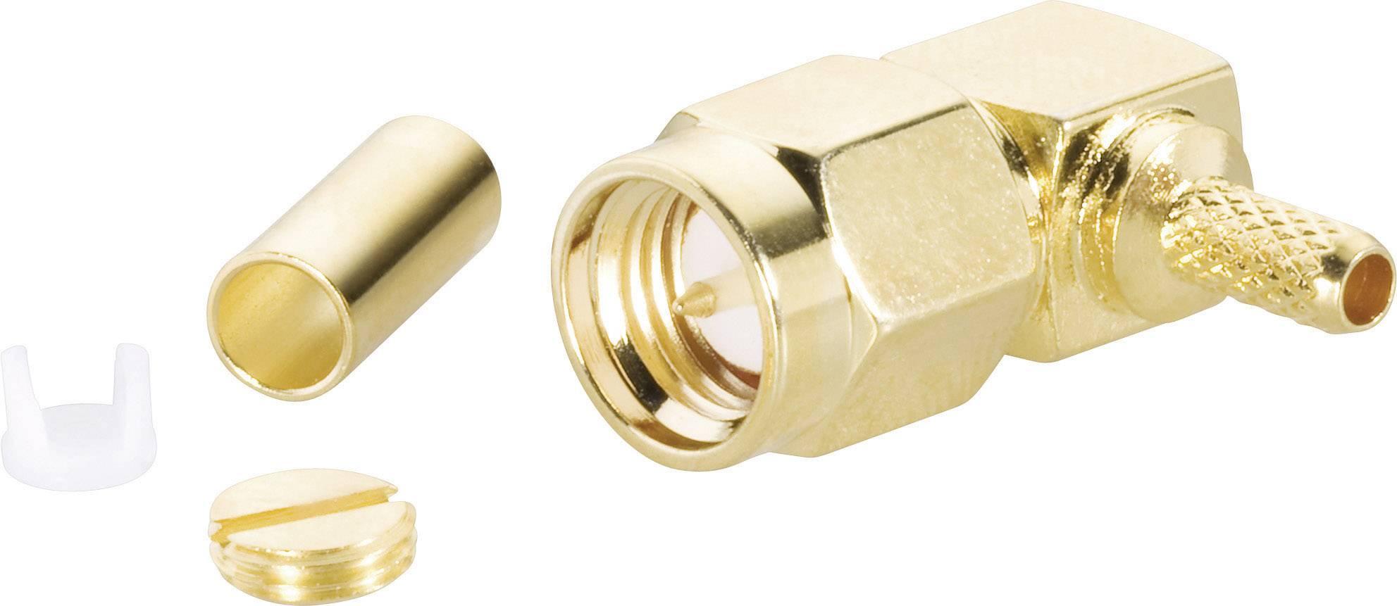 SMA konektor, 50 Ω, zástrčka uhlová RG 174