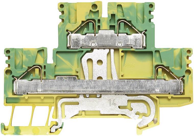 Dvojřadá svorka řadová Weidmüller PDK 2.5/4 PE (1918710000), 5,1 mm, zelenožlutá